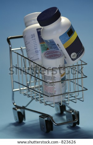 drugs in shoppingcart - stock photo