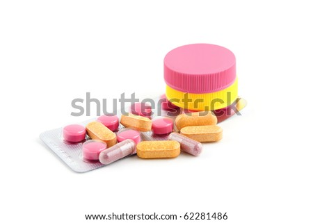 drugs, pills for sick people isolated on white background - stock photo