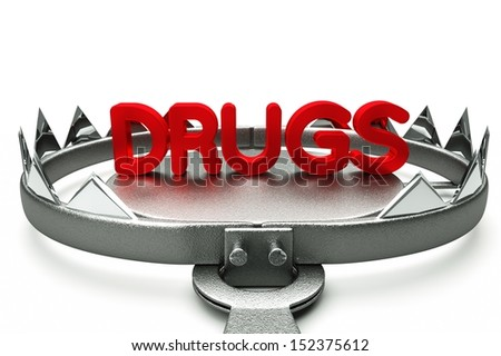 Drugs pills in mousetrap isolated on white background 3D Render - stock photo
