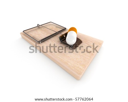 Drugs trap. Mousetrap with pill isolated on white background. High quality 3d render.