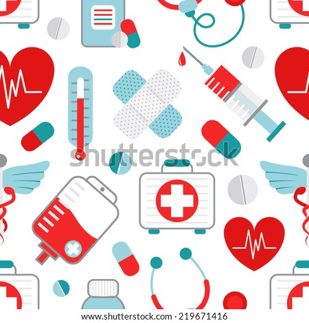 Drugstore heart syringe pills capsules plaster medical symbols decorative wrapping paper seamless pattern design flat  illustration - stock photo