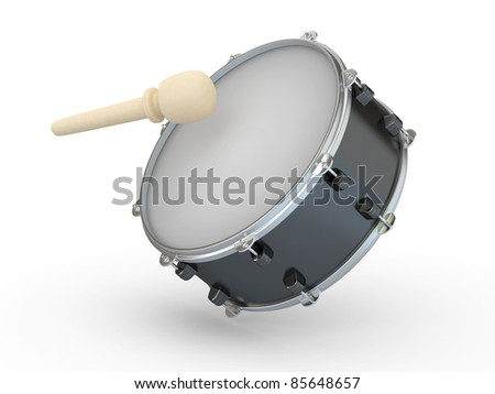 Drum and drumstick on white isolated background. 3d