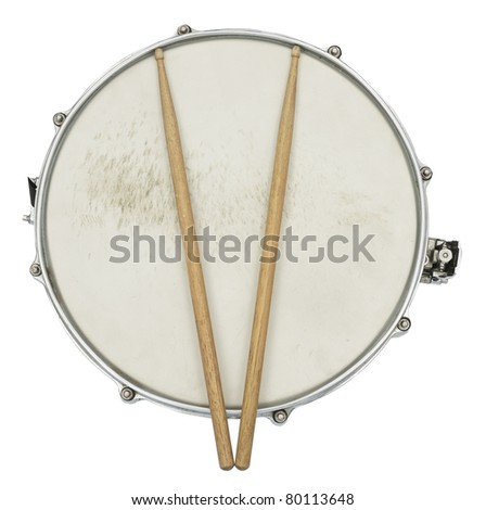 Drum and Drumsticks from top isolated on white - stock photo