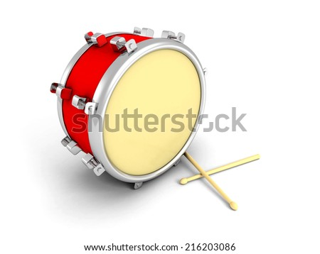 Drum and drumsticks on white background. 3d render illustration - stock photo