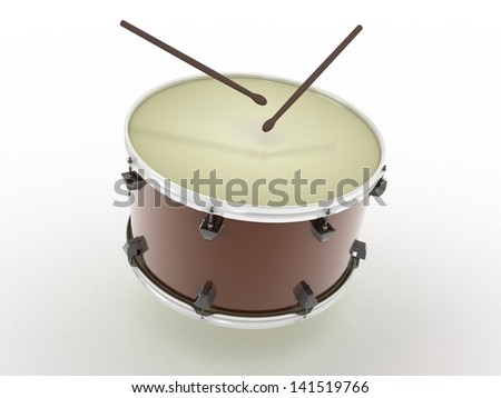 Drum and drumsticks on white isolated background. 3d - stock photo