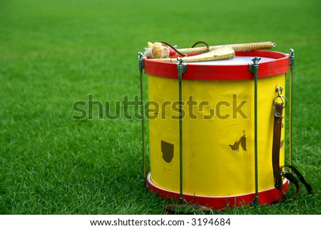 Drum from soccer cheerleaders - stock photo
