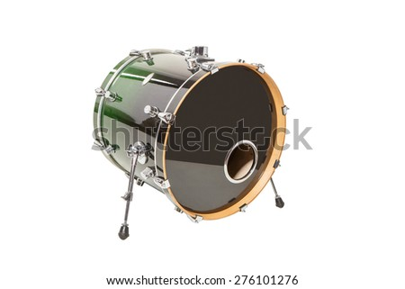 Drum green standing on white background - stock photo
