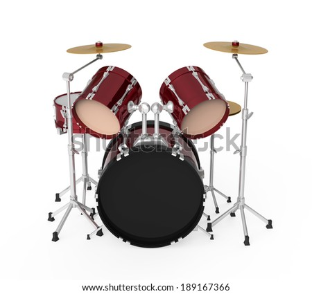 Drum Kit Isolated - stock photo