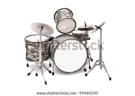 Drum Kit on a white background - stock photo