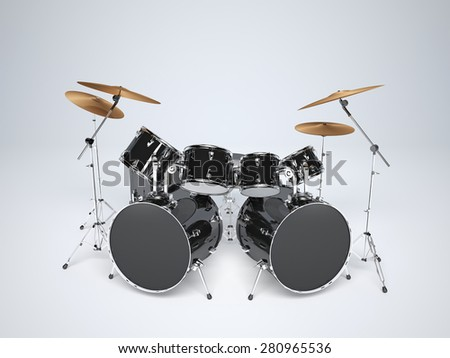Drum kit with two bass drums - stock photo