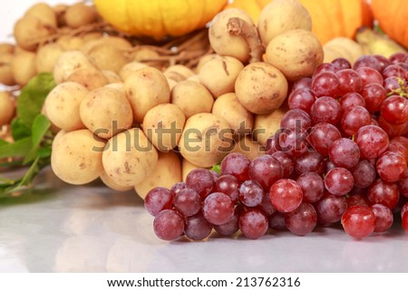 Drum of Fruit, Grape, Longkong, Longan, Pomegranate, Banana, Pumpkin, Squash and Lemon