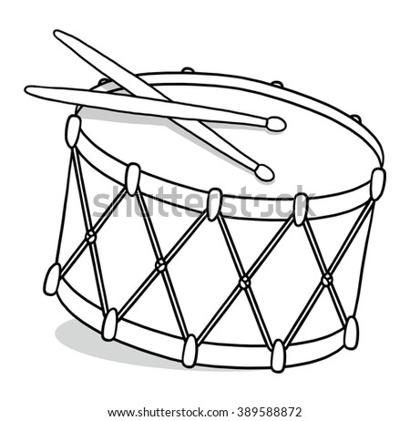 Drum outline illustration; Isolated snare drum - stock photo
