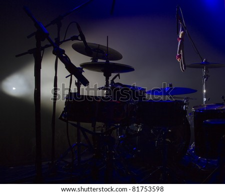 Drum set on concert stage - stock photo