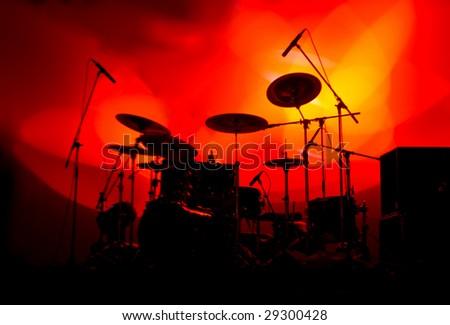 Drum Set on Stage - stock photo