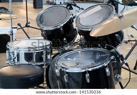 Drum set-up on stage horizontal - stock photo