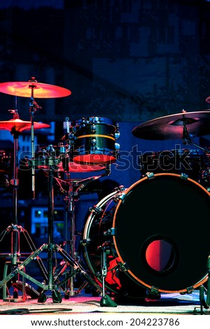 Drum Set with some cymbals on stage before a live Concert. - stock photo
