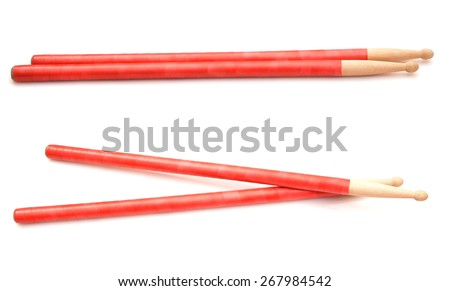 Drum sticks isolated on white. Red drum sticks. - stock photo