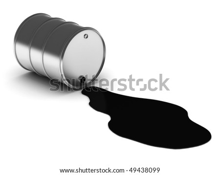 Drum with spilled oil isolated on white background. High quality 3d render. - stock photo