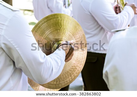 drummer of army orchestra at the festival of military brass bands - stock photo