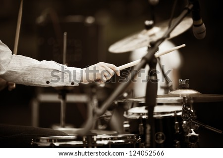 drummer on the rock concert - stock photo