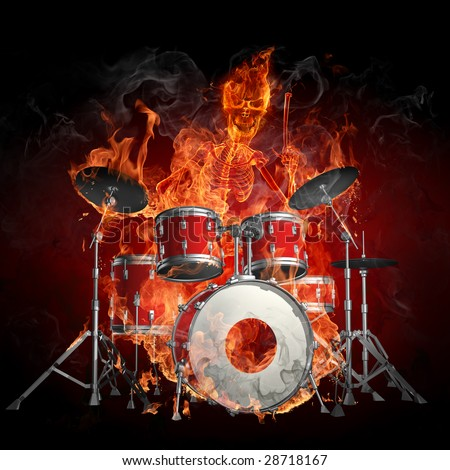Drummer - Series of fiery illustrations - stock photo