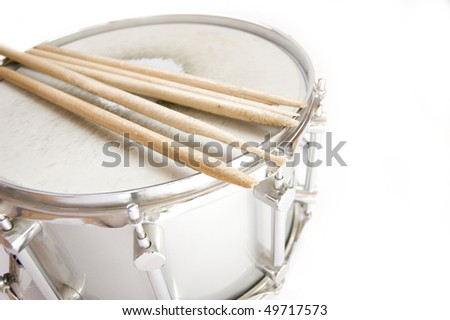 Drums conceptual image. Broken sticks lies on snare. - stock photo