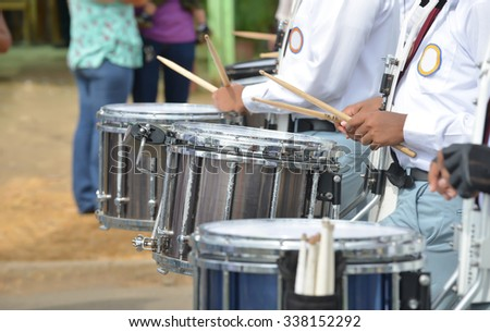 Drums sounding loud during a Independence day parade in Panama
