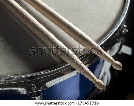 Drumsticks snare drum - stock photo