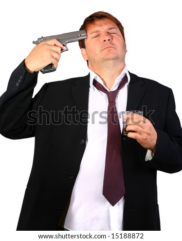 Drunk businessman committing suicide (conceptual) - stock photo