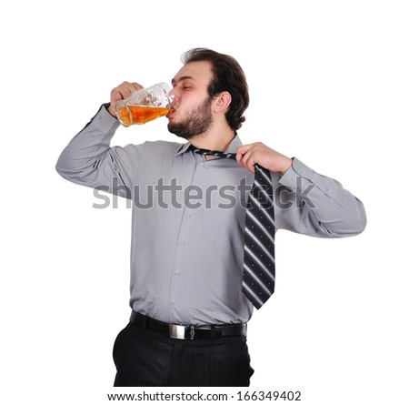drunk businessman with a glass of beer - stock photo