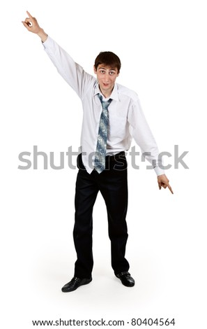 drunk businessman with ragged clothes on a white background - stock photo