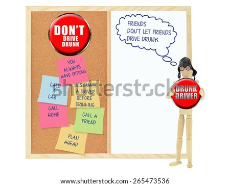 Drunk Driver: Friends don't let friends drive drunk thought bubble: Don't Drive drunk Cork board whiteboard post it notes  (you always have options, call home, call friend, call a cab) - stock photo