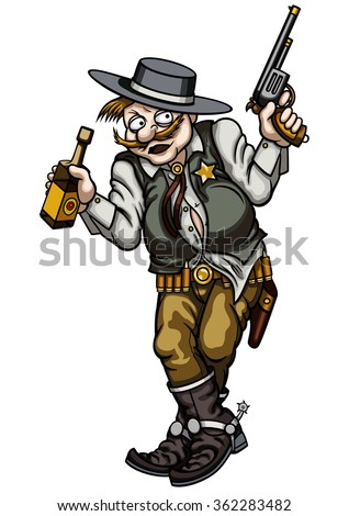 Drunk gunman. Illustration old wild west gunman with a pistol and a bottle - stock photo