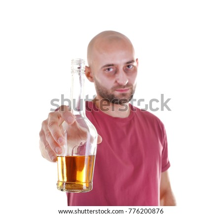 Drunk man with whiskey bottle on white background. Alcoholism concept