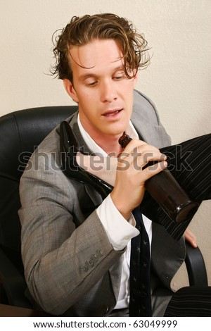 Drunk office worker with beer and prostitute. - stock photo