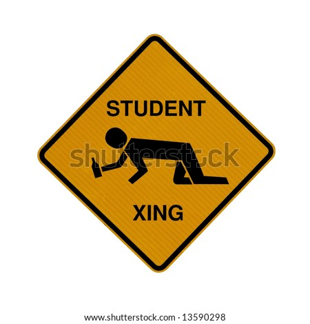 Drunk student crossing road sign (diamond shape) - stock photo