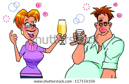 Drunk woman  proposing a toast - stock photo