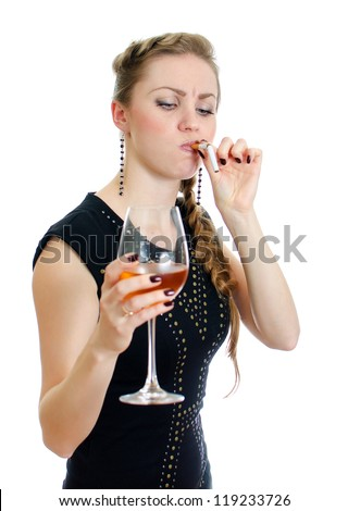 Drunk woman with cigarette and wine. Isolated on white.