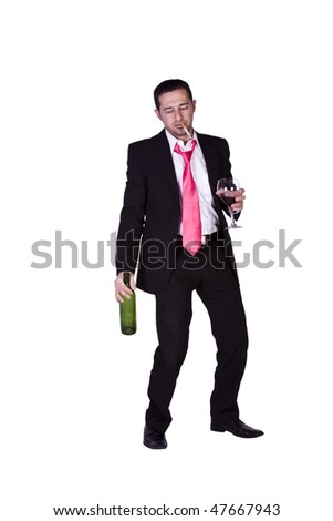 Drunken Businessman Holding a Wine Bottle Trying to Keep his Balance - Isolated Background - stock photo