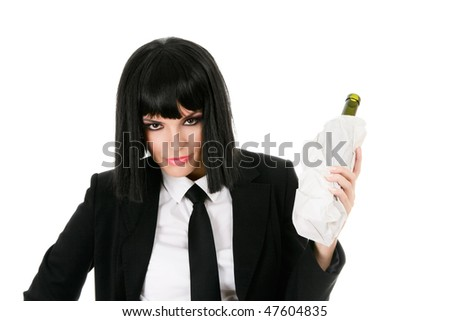 Drunken businesswoman with bottle wrapped in paper parcel isolated on white background - stock photo