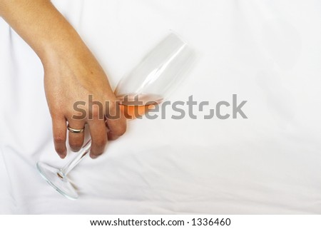 Drunken woman with a glass of wine.. - stock photo