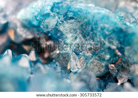 Druse blue crystals Agate SiO2 silicon dioxide. Macro - stock photo