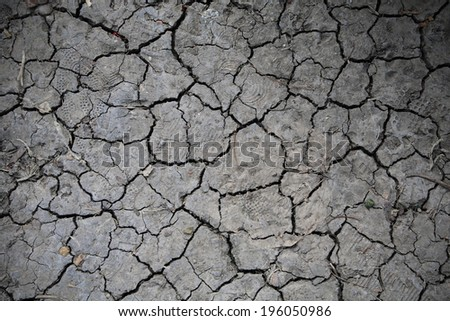 Dry and cracked earth textured background - stock photo