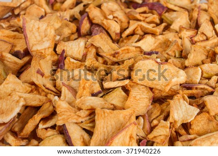 dry apple, dried fruit - top view
