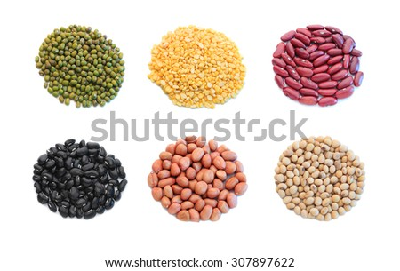 dry beans isolated on white background. - stock photo