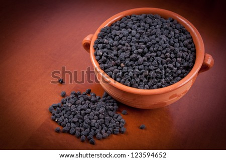 dry beans on wood background