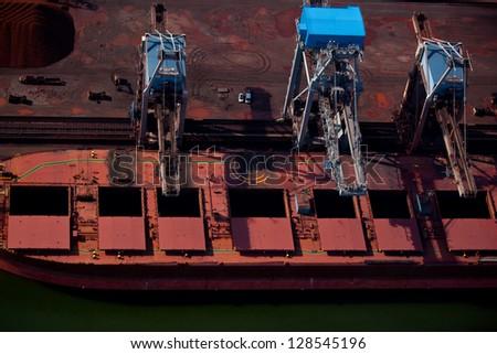 Dry bulk cargo ship - stock photo