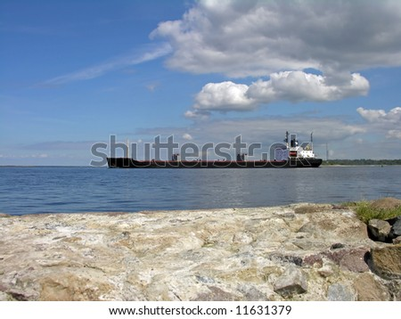 Dry cargo ship - stock photo