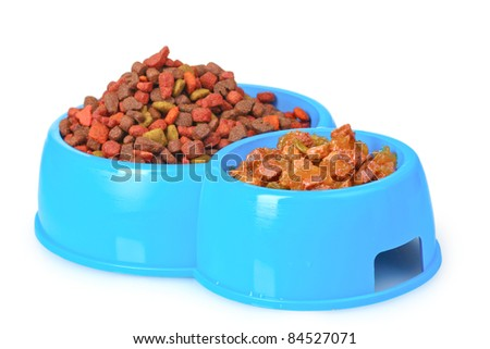 Dry cat food in bowls isolated on white - stock photo