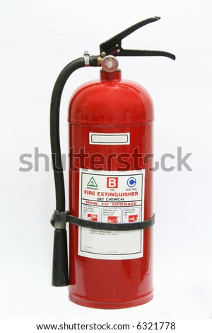 dry chemical fire extinguisher isolated on white background - stock photo